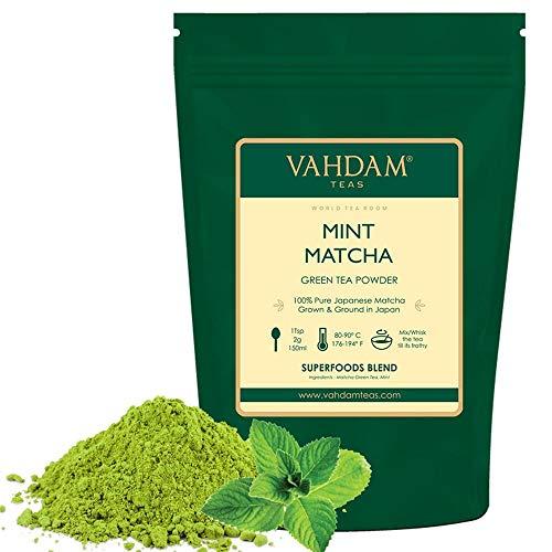 VAHDAM, Minze Matcha Grüner Tee | 100% REINER japanischer Herkunfts-Matcha-Teepulver | 137x ANTI-OXIDANTEN | Grüner Tee zur Gewichtsreduktion und zur täglichen Entgiftung | Japans SUPER FOOD