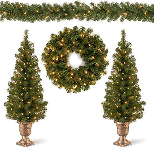 National Tree Company Pre-lit Artificial Christmas 4-Piece Set | Garland, Wreath and Set of 2 Entrance Trees