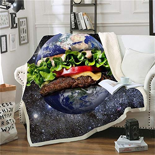 Aymsm Burger 3D Print Sherpa Blanket Galaxy Lavable Colcha Fashion Plush Blanket Office Airplane Bedding