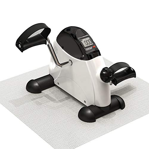 MBB Pedal Exerciser,Under Desk Mini Cycle,Mini Exercise Bike for Arm and Leg,LCD Display with Anti - Slip Pad White Color