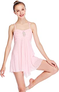 Dance Costume Lyrical Dress Full Sequins Camisole Dance Dresses