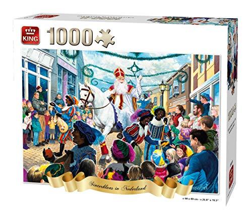 KING 55813 puzzel Sinterklaas in Nederland, 1000 delen, volledig gekleurd, 68 x 49 cm