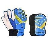 Sportout Guantes de portero para niños y jóvenes, con espinilleras, para entrenamiento de fútbol (azul, 5)
