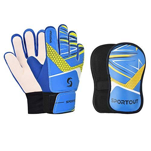 Sportout - Guanti da portiere per bambini e ragazzi, set di parastinchi per ragazzi e ragazze (blue, 5)