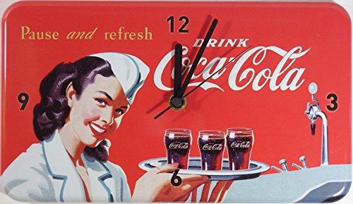 Coca Cola Coke Cameriera Lamiera Parete Orologio Nuovo Stabile Vu576