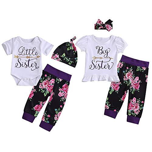 Puseky Baby Girls Big Little Sister Corrispondenza per la Famiglia Vestiti a Maniche Corte Pagliaccetto + Pantaloni Floreali + Set di Abiti per la Fascia (Color : White, Size : Little Sister-0-6M)