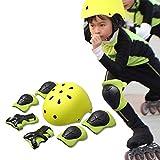 Casco de ciclista 7 en 1 Set de protección del deporte al protector de la seguridad infantil Codo Muñeca rodilleras Niños del patín de ruedas del monopatín Las rodilleras Equipo de Protección Infantil