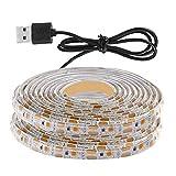 Gazechimp Sensor de Movimiento de Iluminación LED Debajo del Gabinete, Cinta de Lámpara de Armario de Escaleras de Cama, Tira de Luz de Noche de Armario LED USB - 4M