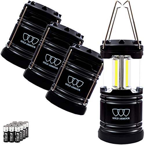 Gold Armour LED Camping Lantern, Battery Powered LED Lanterns, 500 Lumens, Survival Kits for Power Outages, Hurricane, Emergency, Portable Lights Gear, Alkaline Batteries Included (4Pack Black)