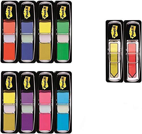 """Post-it """"Index Mini Promotion"""" Klebezettel Set zum Markieren – 8 x 35 Haftstreifen + 2 x 24 Post-it """"Index Pfeile"""" gratis in 11,9 x 43,2 mm – Pagemarker farblich sortiert"""