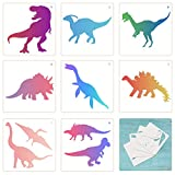 TAZEMAT 12 Hojas Plantillas de Silueta de Dinosaurio para Pintar sobre Pared Papel Tarjetas Diseño de Dinosaurios para Manualidades DIY Artesanía para Niños Diferentes Patrones Reutilizable 13 × 13cm