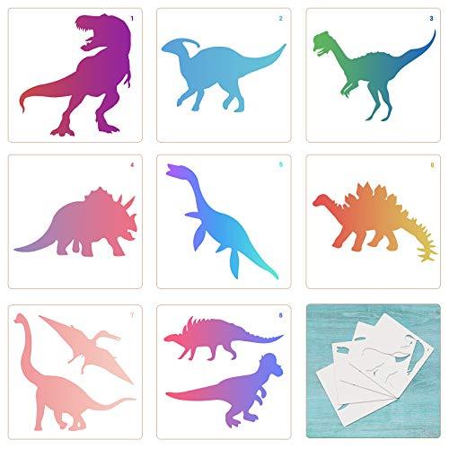 TAZEMAT 12 Stück Dinosaurier Schablone Schablonen Textilgestaltung Kinder Tierschablonen Wiederverwendbar Zeichenschablone Für Kunsthandwerk Schule Bastelprojekte 13 x 13 cm
