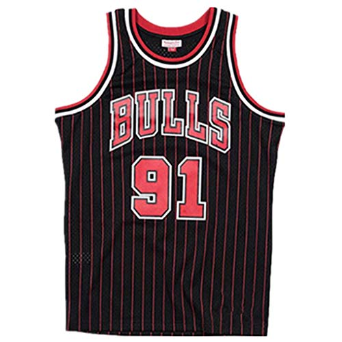 Miyapy NBA Chicago Bulls #91 Dennis Rodman Camiseta de Jugador de Baloncesto para Hombres, Camiseta con Bordado, Camiseta de los fanáticos, Chaleco Transpirable Deportivas de Jersey Swingman