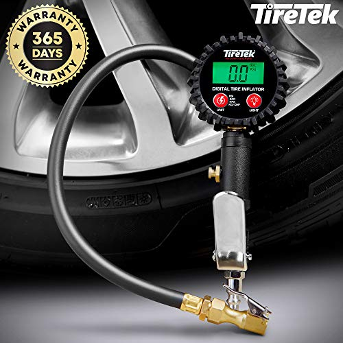 TireTek Air Compressor Tire Inflator Attachment with Digital Tire Gauge 250 PSI, Accurate Tire Inflator with pressure gauge, Universal Air chuck with Pressure Gauge for Trucks, Cars, SUVs, RVs and UTV
