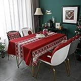Mantel de decoración de Fiesta de Navidad, Cubierta de Mesa de Centro de Papá Noel de Dibujos Animados Lindo, Mantel Rectangular Impermeable M-3 140x210cm