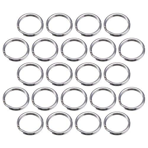 Bememo 100 Pack Small Key Ring Round Metal Split Rings for Home Keys Organization and Craft Making, Silver (20 mm/ 0.79 inch)