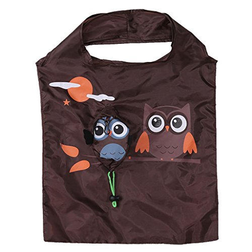 mdhsh Cute Owl Folding Shopping Bag, Eco Reusable Shoulder Handbag Tote Travel Coffee