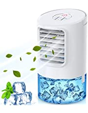 Climatiseur de bureau portable de 400 ml, refroidisseur d'air 4 en 1, ventilateur de climatiseur silencieux mobile, 18 W, 7 veilleuses, minuterie 2 h / 4 h, 3 vitesses, blanc