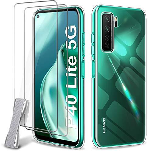 Generico Younme Hülle für Huawei P40 Lite 5G Silikon, [2 Stück] Panzerglas Schutzfolie + Flexible Handyhülle Dünne klare TPU Hülle Schutzhülle für Huawei P40 Lite 5G 6.5