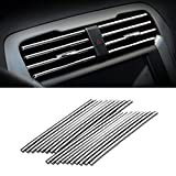 Car Air Conditioner Decoration Strip for Vent Outlet, 20 Pieces Universal Waterproof Bendable Air Vent Outlet Trim Decoration, Suitable for Most Air Vent Outlet, Car Interior Accessories (Silver)