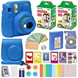 Fujifilm Instax Mini 9 - Instant Camera Cobalt Blue with Carrying Case + Fuji Instax Film Value Pack (40 Sheets) Accessories Bundle, Color Filters, Photo Album, Assorted Frames, Selfie Lens + More