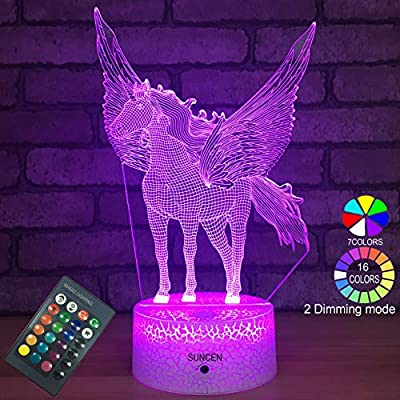 SUNCEN Unicorn Toy Gift for 10 7 5 6 3 9 4 8 Year Old Girl Gift Night Light with Remote & Smart Touch 7 Colors + 16 Colors Changing Dimmable (Pagasus)