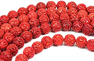 1001Kristall Cuerda de bola de dragón, 16 mm/40 cm, color coral