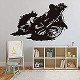 Motor Driver Motocross Racer Vinilo Adhesivos de pared para la decoración del dormitorio Papel tapiz extraíble Decoración del hogar 59X39Cm