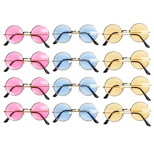 THE TWIDDLERS 12 Gafas de Sol Retro Hippie Redondas para Niños y Adultos