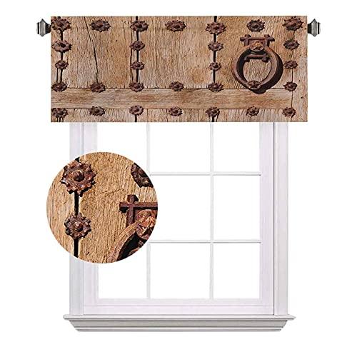 Cenefas cortas rústicas, entrada española de estilo medieval oxidado, imagen histórica de fachada, ahorro de energía para cortinas de baño, 52 x 18 pulgadas, color marrón pálido