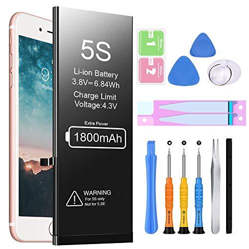 Batería de Repuesto para iPhone 5S, EVARY 1800mAh Batería Recargable de polímero de Litio de Alta Capacidad y 0 ciclos con Kit Completo de Herramientas de reparación Compatible con iPhone 5S