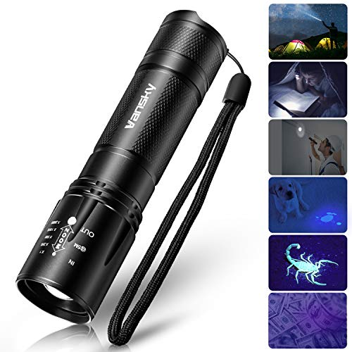 UV Flashlight Black Light Tactical Flashlight, Vansky 2 in 1 Handheld Flashlight LED Flashlight for Camping,Reading, Mini Blacklight Urine Detector for Cats,Pet Stains,Bed Bugs,Scorpions