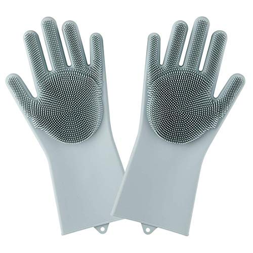 Tomiya Silicone Gloves with Scrubber, Multi- functional Gloves: Reusable, Heat Resistant, Non-Slip, Dish Washing,Car Washing, Household Cleaning,Pet Hair Care.1 pair pack