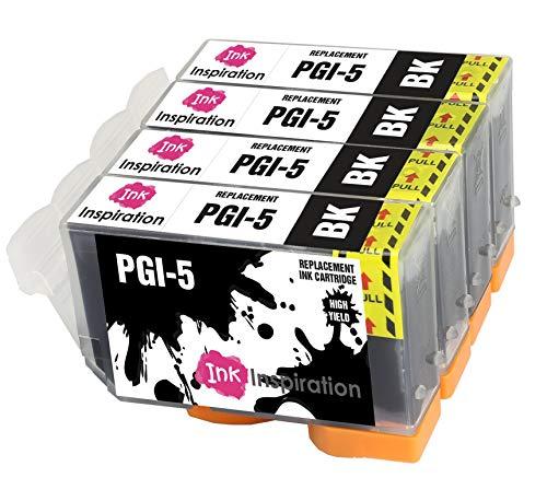 INK INSPIRATION® Ersatz für Canon PGI-5 PGI-5BK Schwarz Druckerpatronen 4er-Pack kompatibel mit Canon Pixma iP4200 iP4300 iP4500 iP5200 iP5200R iP5300 MP500 MP600 MP600R MP610 MP800 MP800R MP810 MP830