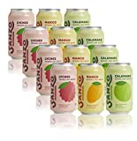 Sanzo Flavored Sparkling Water Variety Pack, Made with Real Fruit, No Added Sugar, 12 fl oz, Pack of 12