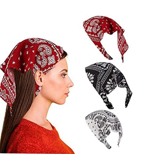 Yean Boho - Pañuelo de cabeza de chifón para mujeres y niñas (3 unidades)