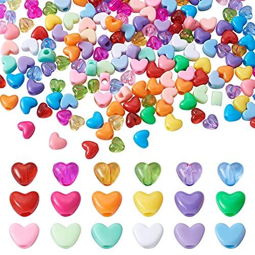 Beadthoven - 600 perline in acrilico a forma di cuore forato, 8 stili colorati, in plastica, per bambini, kawaii, arcobaleno, collane, gioielli, decorazione per la casa