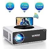 Vidéoprojecteur WiFi Full HD 1080P, WiMiUS 7200 Lumens Projecteur WiFi Full HD 1080P Rétroprojecteur Supporte 4K Audio AC3 Projecteur LED Home Cinéma pour Smartphone,TV Stick,PC,PS4 HDMI USB VGA AV