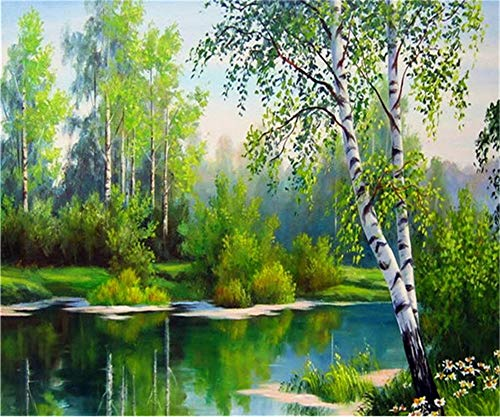 5D DIY Diamond Painting by Number Kit Forest River Round Drill,90x70cm Adults and Kids Full Drill Beads Crystal Rhinestone Embroidery Cross Stitch Picture Supplies Arts Craft for Home Wall Decor U2803