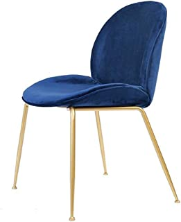 WHOJA Sillas de Comedor Volver Velvet Living Sillón de salón Diseño de respaldo Asiento tapizado Con robustas patas de met...