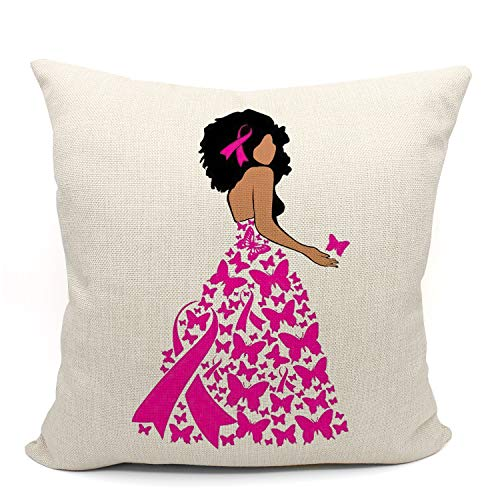 Mancheng-zi Rosa Brustkrebs-Stützband-Überwurf-Kissenbezug, Brustkrebs-Geschenke für Frauen, Chemotherapie-Geschenke Krebs, Überlebenspatienten, 45,7 x cm, Leinen-Kissenbezug Sofa, Couch, Bett