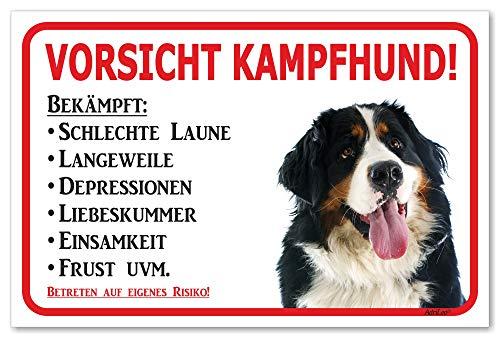 AdriLeo Schild - Vorsicht Berner Sennenhund - Kampfhund - (20x30cm) / Achtung Hund Wachhund
