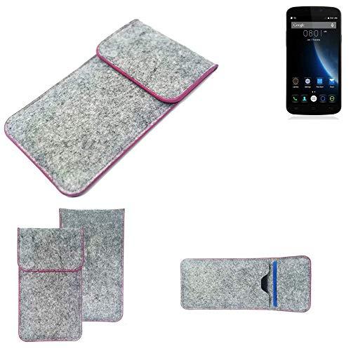 K-S-Trade Handy Schutz Hülle Für Doogee X6S Schutzhülle Handyhülle Filztasche Pouch Tasche Hülle Sleeve Filzhülle Hellgrau Pinker Rand