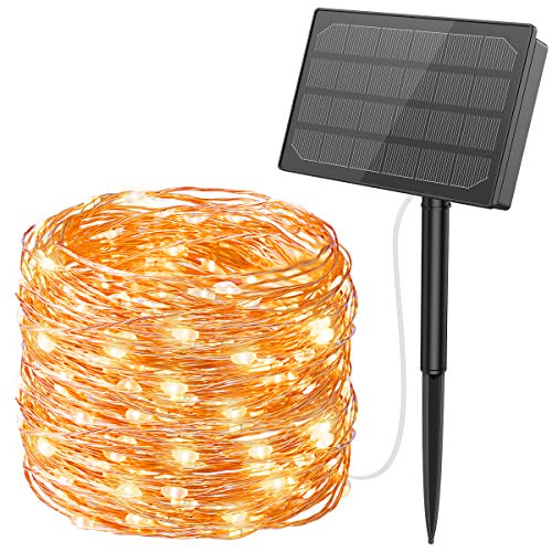 AMIR Upgraded 500 LED Solar String Lights, 164FT Solar Fairy Lights, 8 Modes Starry Lights, Indoor Outdoor Waterproof Solar Decoration Lights for Gardens, Home, Dancing, Party, Christmas (Warm White)