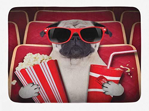 AdaCrazy Pug Badematte, Watch Dog Film, Popcorn Limonade und Brille Tierfotos, Plüsch Badausstattung Pad mit Anti-Rutsch-Futter, Flanell Badematte 40x60cm Wohnkultur Teppich