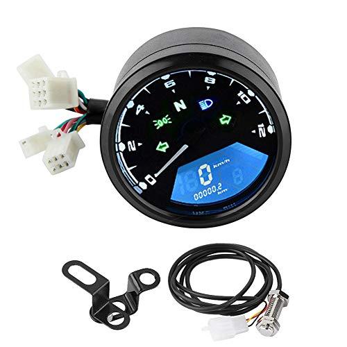 Tachometer Kilometerzähler mit LCD-Anzeige für digitale Hintergrundbeleuchtung Drehzahlmesser Kraftstoffanzeige für Motorräder mit 12-V-Stromversorgung