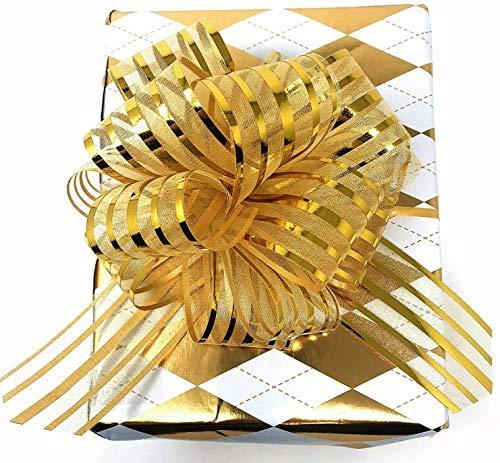 10 PCS Pull Gold Bow Large 6' Wedding Decorations Christmas Xmas Gift Wrapping Ribbons(Gold)