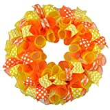 Bright Summer Wreath | Orange Spring Wreath | Yellow Outdoor Mesh Wreath