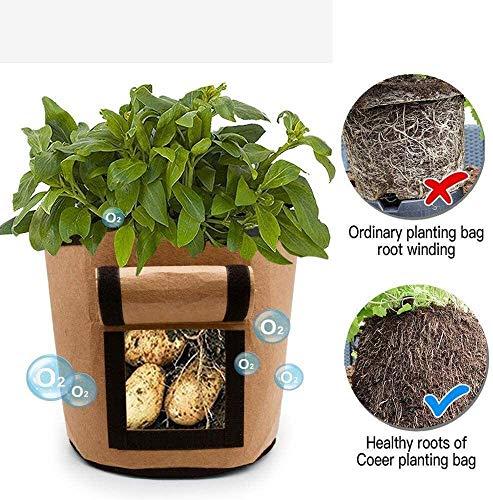 YEQUANHUA Garten Süßkartoffel Pflanztaschen, wachsen Beutel mit Handgriffen, atmungsaktiv Nonwove Baum pflanzt Bag Plant Growth Bag (Color : Brown)