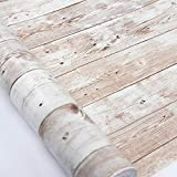 Peel and Stick Wallpaper 17.71 in X 18 ft Self-Adhesive Removable Wood Wallpaper Decorative Wall Covering Vintage Wood Panel Interior Film Easy to Clean for Home Decoration and Furniture Renovation